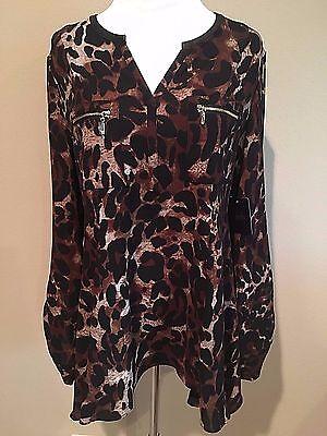 NWT Women's Leopard Print Brown Black Long Sleeve Rafaella Tunic Dress Top Large