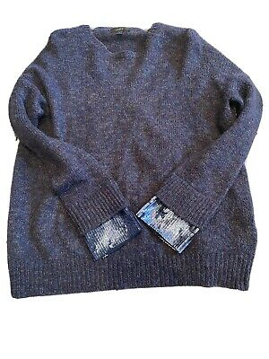 J Crew Blue Over Sized Jumper With Sequin Cuffs Size Small
