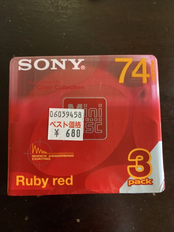Sony Recordable MD-74 min Color Collection -3 Pack Ruby Red - New Sealed DS