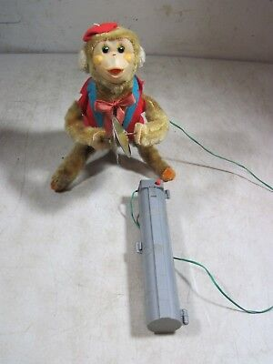 Vintage Battery Op Cymbal Playing Wired Remote Control Flip Over Toy Monkey  (Monkey Cymbals)