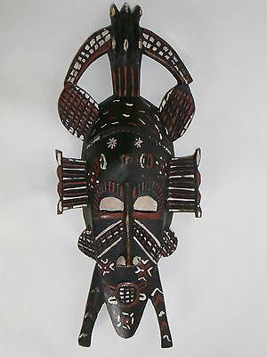 06B61 Antique Mask Art Primitive African Senoufo Cote D'Ivoire Wood Carved