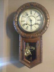 Antique Style Contemporary Oak Octagon Drop School House Regulator Wind-Up Clock