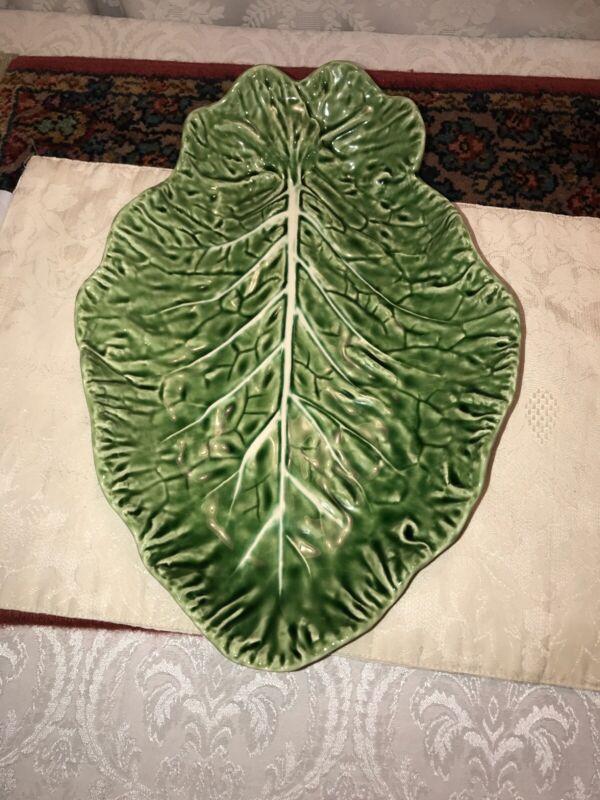 Bordallo Pinheiro Large Green Cabbage Leaf Serving Platter 15 inch Portugal EUC