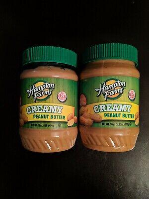 PEANUT BUTTER CREAMY BY HAMPTON FARMS TWO JARS BRAND NEW/FACTORY SEALED!!!! Farms Peanut Butter