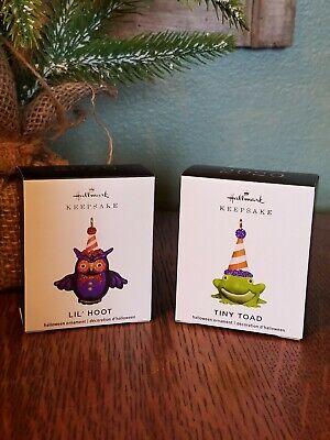 "2020 Hallmark Miniature Ornaments ""LIL' HOOT & TINY TOAD"" Halloween Minis"
