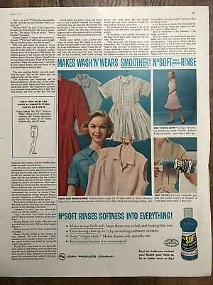 No Soft Fabric Softener~Makes Wash 'N' Wears Smoother~1959 Vintage Print AD A68