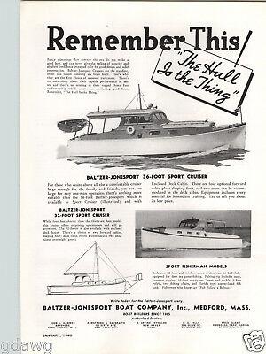 1940 PAPER AD Baltzer Jonesport Motor Boat Company 36' Sport Cruiser 32' Fosher