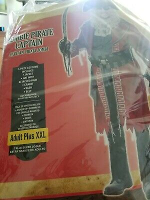 Zombie Pirate Captain Costume Premium Adult Size XXL Halloween Fancy Dress #36 - Premium Adult Halloween Costumes