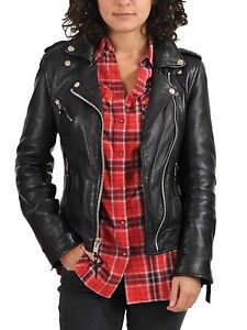 New Genuine Soft Lambskin Leather Biker Bomber Women's Wear Jacket S to XXL # 17