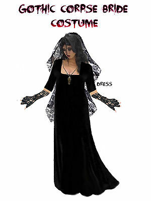 Black Gothic Corpse Bride Plus Size Halloween Costume 1x 2x 3x 4x 5x 6x 8x TALL](Corpse Bride Halloween Costume Plus Size)