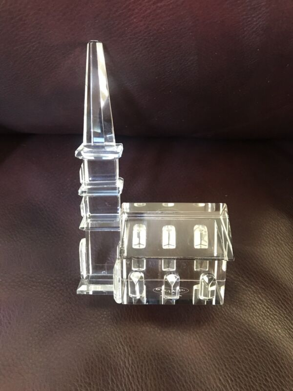 """Sorelle Crystal Church. Etched Cross. 5-1/2"""" Tall Steeple. Refracts Beautifully"""