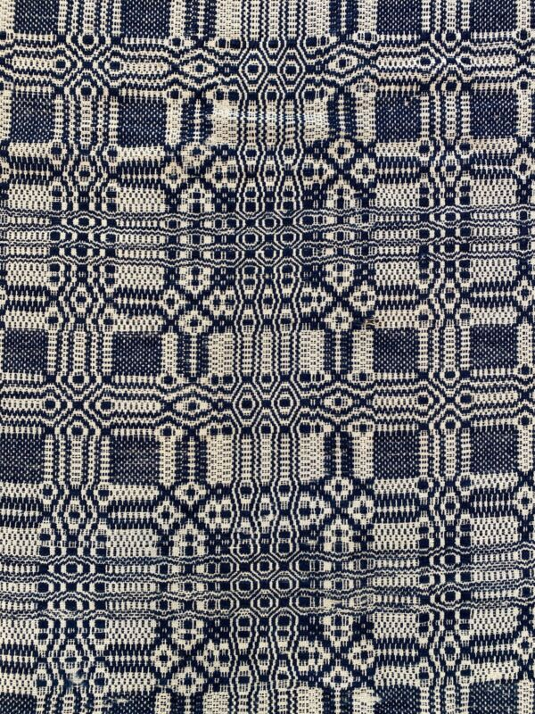 "Antique BLUE & WHITE WOVEN Coverlet 78""x86"""