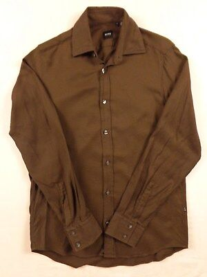 BOSS HUGO BOSS Long Sleeve Size Small (slim?) Brown 100% Coton Black Label 34187