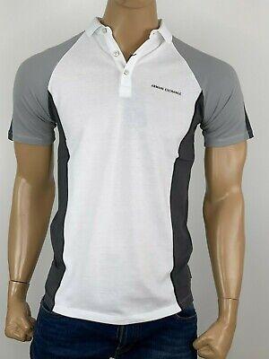Armani Exchange Authentic Colorblock Logo Slim Fit Polo Shirt White NWT