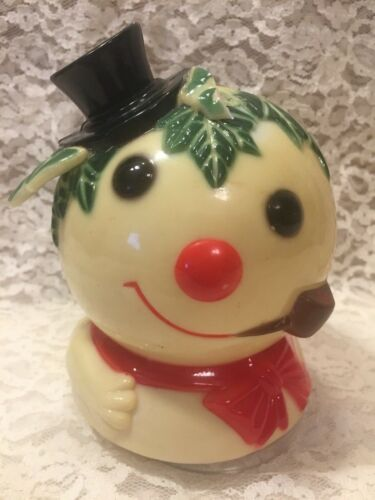 Vintage Rare Celluloid Snowman Christmas Music WindUp - Plays Frosty the Snowman