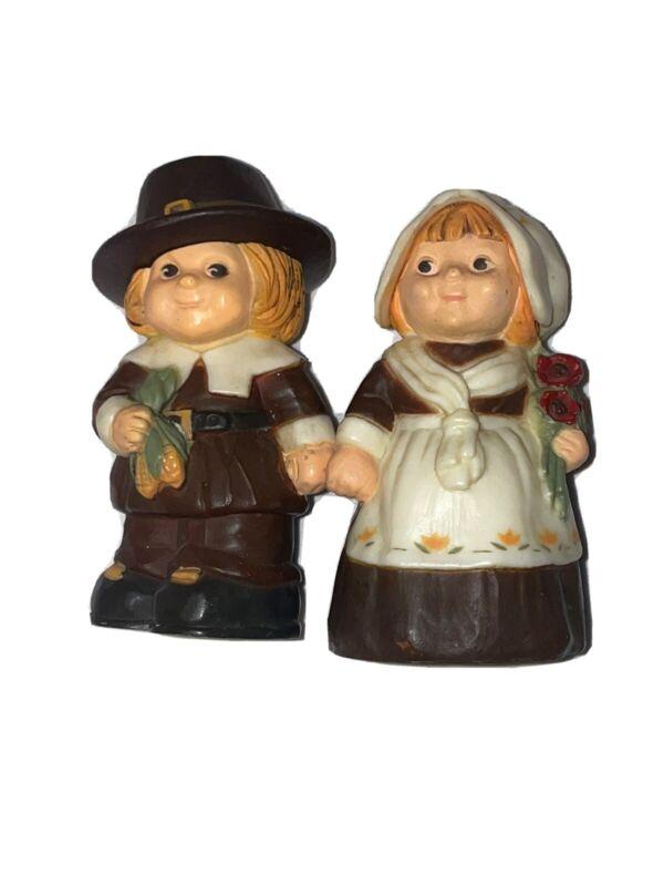 Vintage Hallmark Thanksgiving Pilgrims Couple Salt and Pepper Shakers