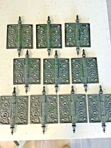 """10 MATCHING ANTIQUE STEEPLE TOP HINGES 4""""X 4"""" RESTORED (5 pair)"""