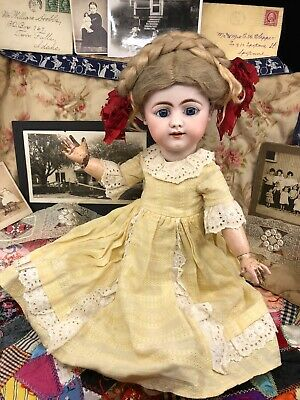 Vintage Doll Dress Antique German or French Bisque China Yellow Colonial