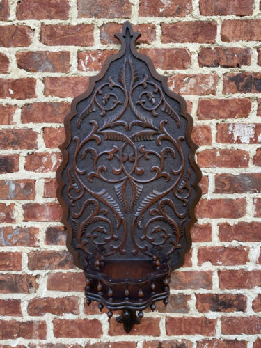 Antique French Galleried Wall Shelf LARGE Wall Plaque Renaissance Oak 19th C