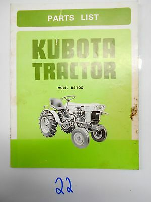 Kubota Model B5100 Tractor Parts List Catalog 66494-6292-1