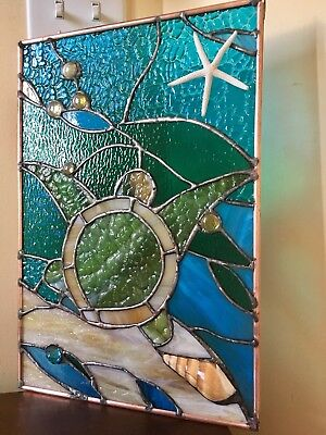 Stained Glass Transom Panel  Window Suncatcher Sea Turtle Ocean Nautical - Ocean Stained Glass