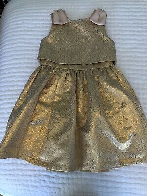 Hucklebones London Girl's US 8Y Dress Party Gold Metallic