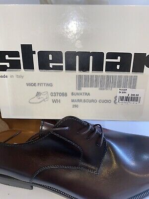 STEMAR Mens Sumatra Shoes Sz 9.5 US Made in Italy Leather Brown Wide Fit £290