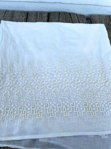 Vintage Cotton Voile Schiffli Embroidery white Fabric 4+ yards