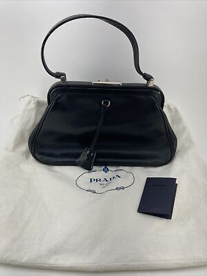 "VTG Original 100% Authentic ""PRADA"" Tote Black Leather Bag /Purse 3DAY ONLY"