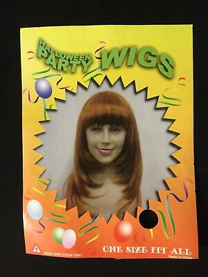 Halloween Party Long Orange Red Straight Costume Womens Wig