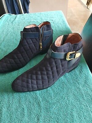 House Of Hounds Harpy chelsea boots in blue  quilted leather £70 UK 10 EUR 44