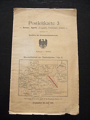 alte Landkarte Postleitkarte Nr.3 Breslau Oppeln Liegnitz Frankfurt O. von 1925