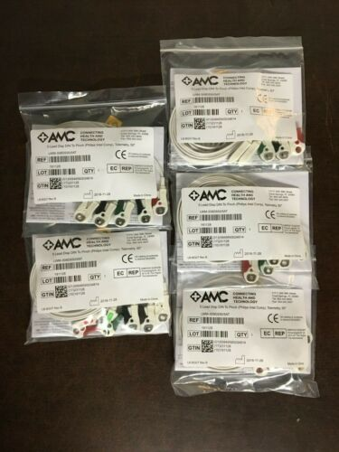 (5X) New AMC&E LWM-309DS50/5AT 5-Lead Disposable DIN Pinch Shield Cable