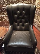 2 X Noble / Slate Goergina studded leather arm chairs Balmain Leichhardt Area Preview