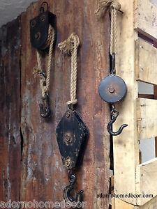 Block Tackle Metal Rope Pulley Rust Antique Vintage