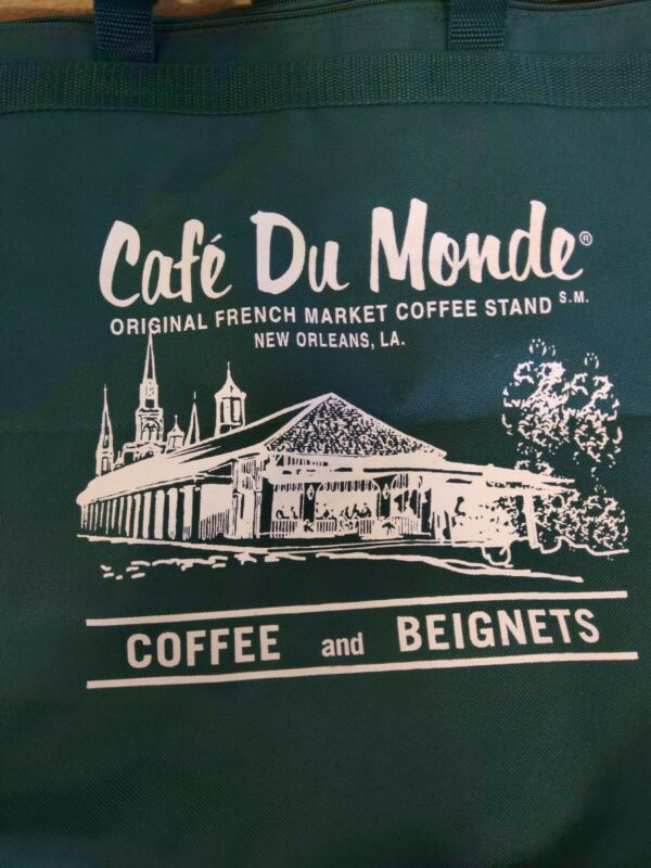 Cafe Du Monde French Market New Orleans Green Zip Top Tote Excellent