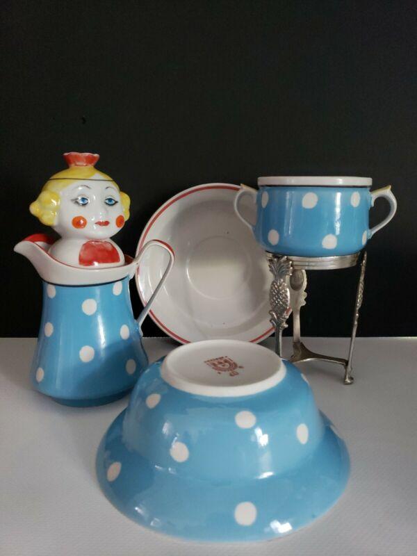 Antique Sugar Bowl & Creamer, Bowl & Saucer - Miscellaneous Lot of 5 EUROPEAN