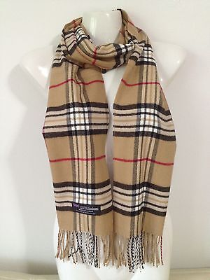 100% CASHMERE SCARF MADE IN SCOTLAND PLAID DESIGN BEIGE COLOR SUPER SOFT