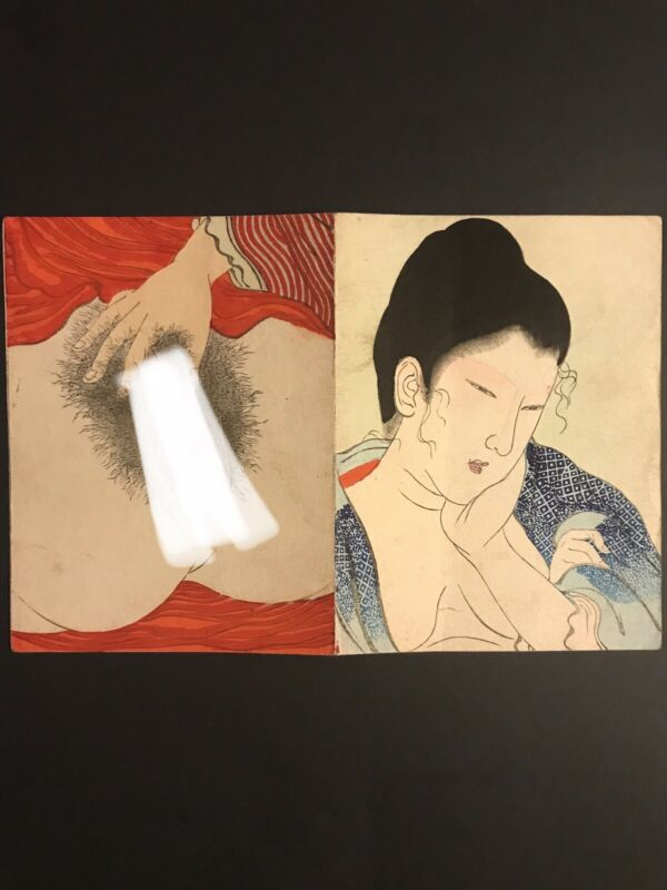 Original Tomioka Eisen Japanese Woodblock Shunga Print - A