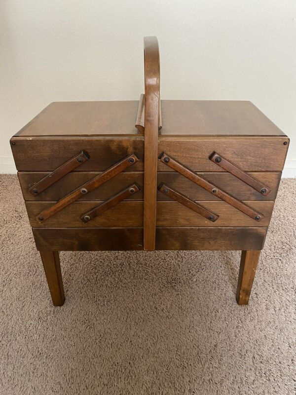 Vintage Mid CenturyStrommen Bruk Hamar Norway Accordian Style Wood Sewing Box