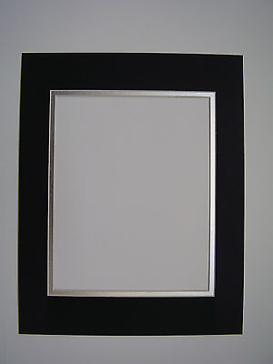 Picture Frame Double Mat 11x14 for 8x10  photo Black with silver liner (Photo Mat)