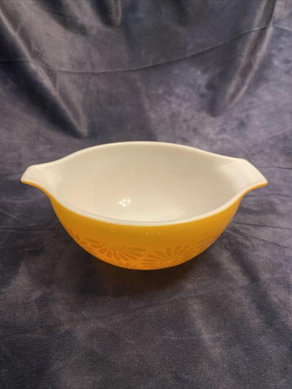 Vintage Pyrex Orange Sunflower Daisy 442 Cinderella Glass Mixing Bowl 70's