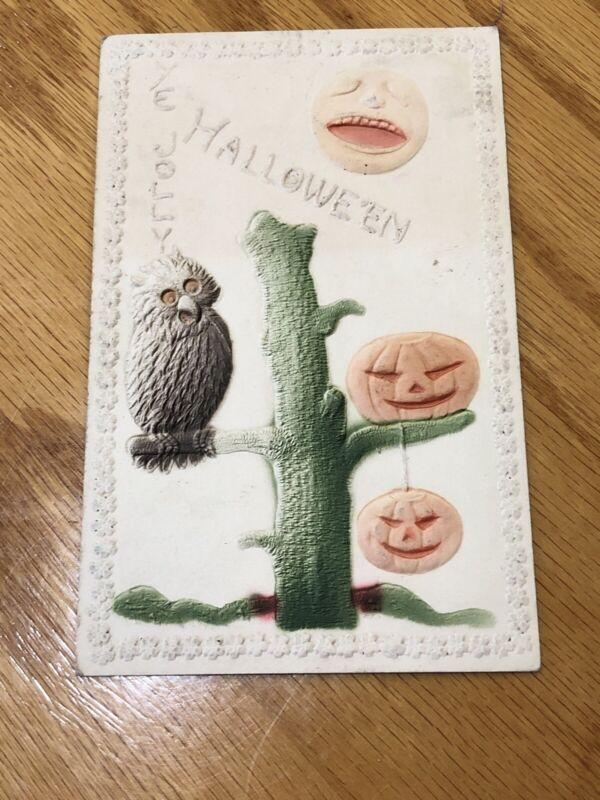 ANTIQUE EMBOSSED HALLOWEEN POSTCARD YE JOLLY HALLOWEEN OWL ON TREE