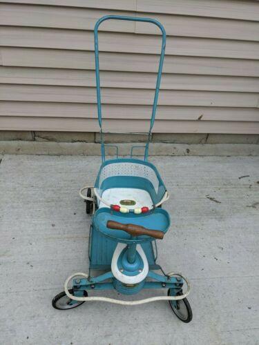 Vintage Taylor Tot Blue Metal White Wood Baby Stroller Walker