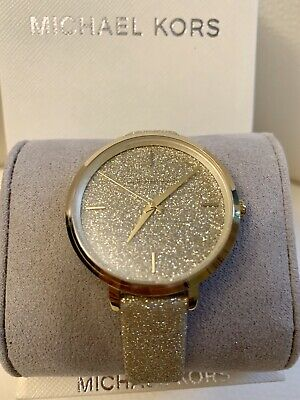 NWT MK7112Michael Kors Women's Charley Shimmering Gold Glitter Leather Watch