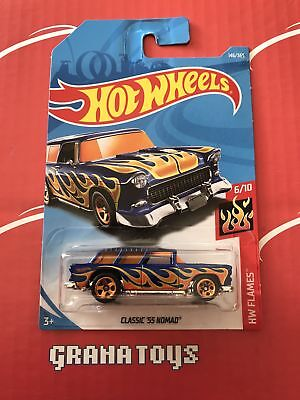 Classic '55 Nomad #146 Flames 2018 Hot Wheels Case G