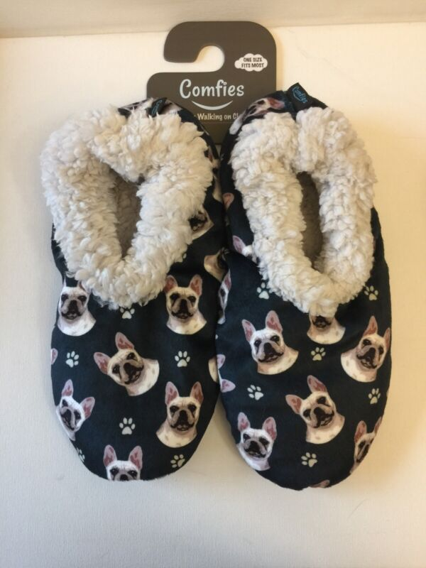 French Bulldog Comfies Slippers Sherpa Lined
