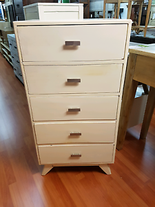 Solid timber rustic white retro scandi chest of drawers tallboy Freshwater Manly Area Preview