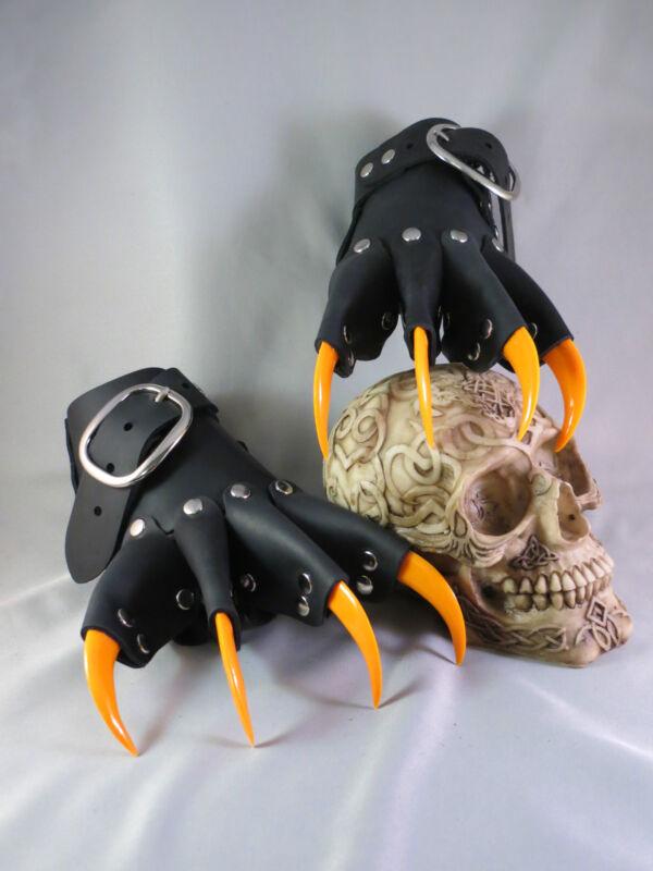 Black Leather Orange Claw Gauntlets Gothic Gloves