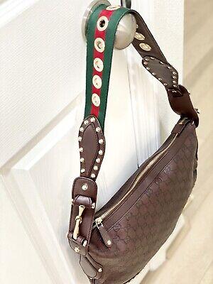 Vintage Guccissima Brown Leather horsebit Stud shoulder Crossbody Gold Grommet